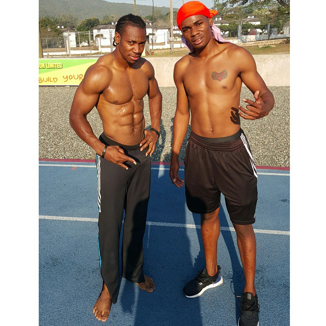 Olympics bronze medallist Warren Weir and Yohan Blake, the 2011 100m World Champion in training