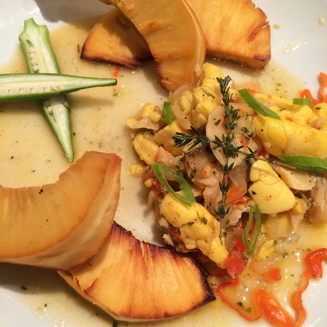 Fried breadfruit served with Ackee and Saltfish