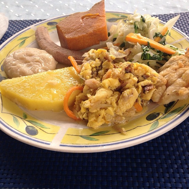 elegantbouquets An authentic Jamaican breakfast to start the day.