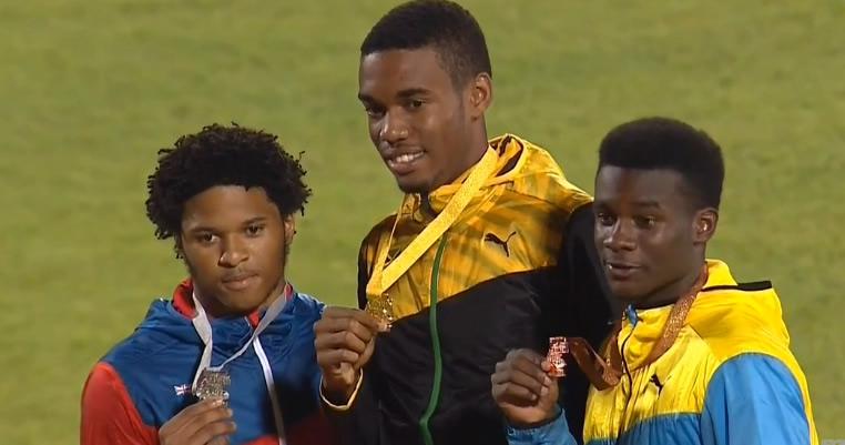 Siver, Jamal Walton of Cayman Islands; Gold, Akeem Bloomfield of Jamaica; bronze, Kinard Rolle of Bahamas.