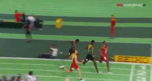 Jamaica's Fitzroy DUNKLEY 2nd Men's 400m at the World Indoor Championships
