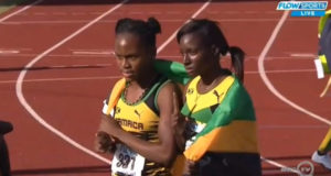 Shiann Salmon and Sanique Walker won the gold and silver medal in the Girls' 400m Hurdles Under-18 on Day 2 of the 2016 CARIFTA Games