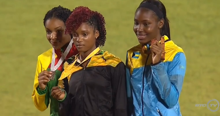 Silver, Grenda; Gold - Stacey-Ann-Williams (Jam); bronze - Bahamas - Girls 400 Meter Dash UNDER 18 Finals