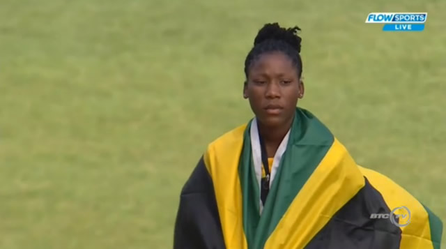 Aiko Jones won the bronze medal in the Girls' Shot Put under 18 after throwing a distance of 14.32m.