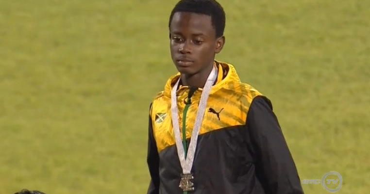 Keenan Lawrence won the silver medal in the Boys' 1500 Meter Run UNDER 18. His 3:59.64 was beaten by Barbados' Jonathon Jones 3:57.19.