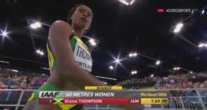 Elaine Thomspon Wins 60m Heat in 7.09 World Indoor Championship