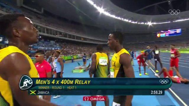 Jamaica wins Men's 4 x 400m Heat at Rio Olympics