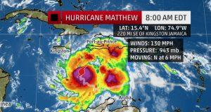 Powerful Category 4 Hurricane Matthew Is Moving Slowly Northward