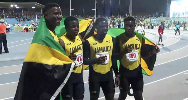 Gold for Jamaica's Boys' 4x100m Relay Under-18 Team