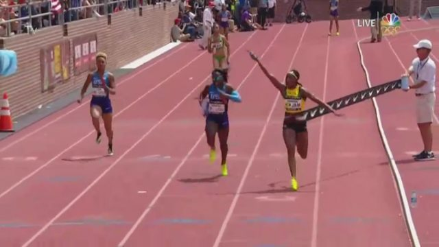 Team Jamaica has won the USA vs. the World Women's 4x100m event on the final day of the 123rd Penn Relays Carnival at Franklin Field.