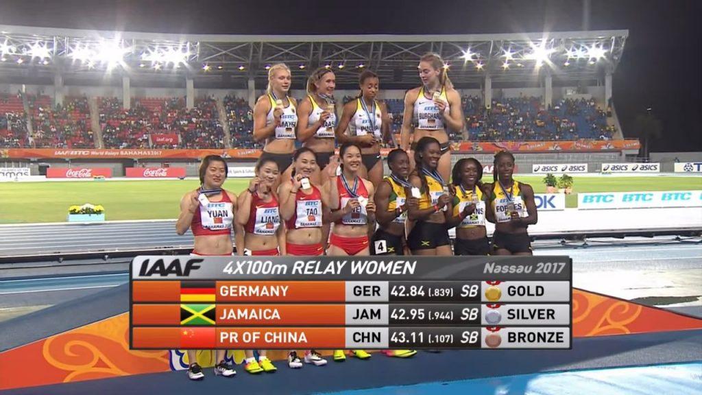 Jamaica's Women's 4x100m relay team won silver at IAAF/BTC World Relays
