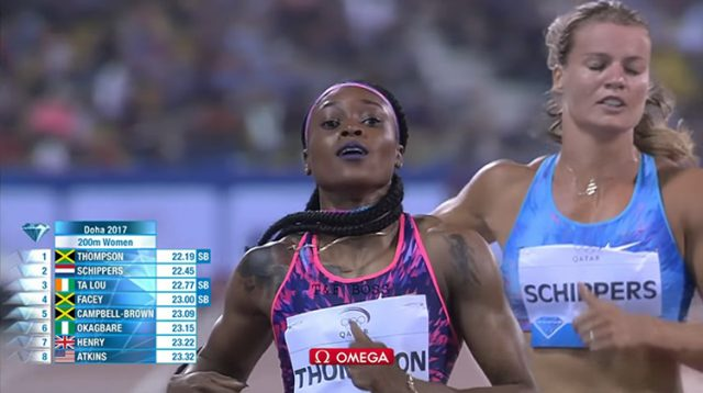 Elaine Thompson Wins 200m at Doha Diamond League