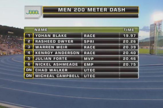 Men's 200m Final Results -Jamaica National Senior Trials 2017