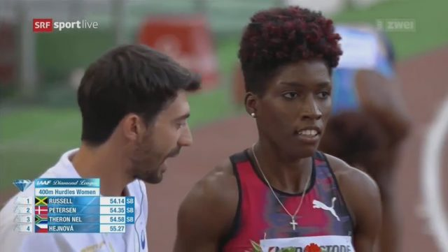Janieve Russell ?? wins 400m Hurdles Rome Diamond League