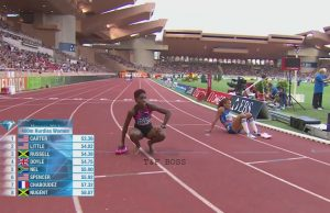 Janieve Russell 3rd in 400m Hurdles at Monaco Diamond League