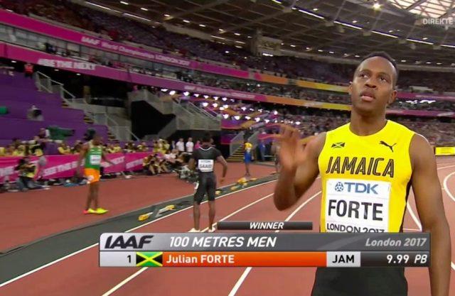 Julian Forte Wins 100m Heat 3 at London World Championships