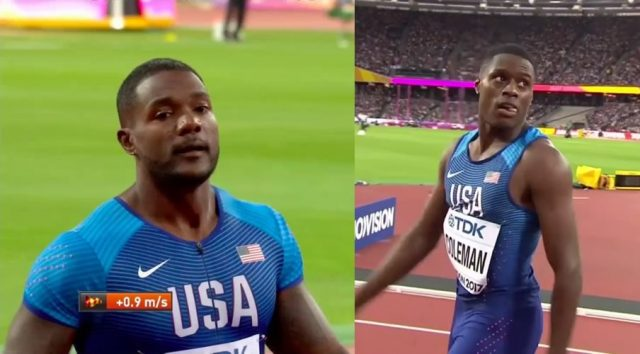 Justin Gatlin, Christian Coleman win their 100m heat in 10.06, 10.01 respectively