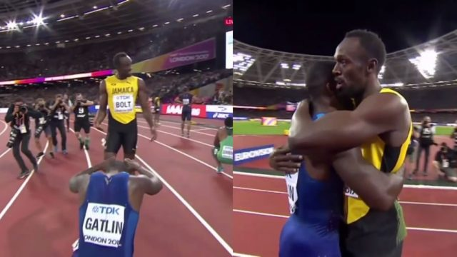 Justin Gatlin bows in respect to Usain Bolt after winning