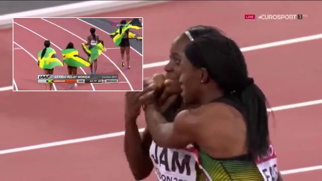 Jamaica WINS Bronze in Women's 4x100m at London World Championships