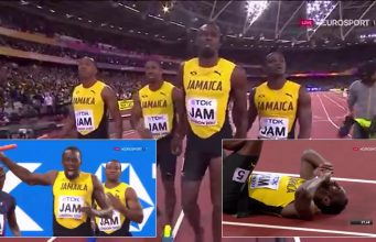 Usain Bolt goes down in Men's 4x100m at World Championships