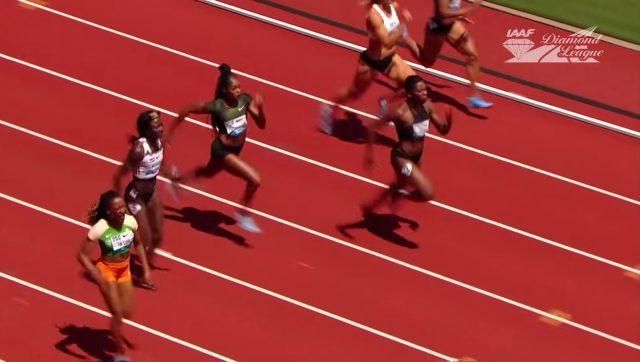 Elaine Thompson finishes 3rd in 100m at Eugene Diamond League 2018
