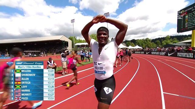 Omar McLeod Wins Men's 110m Hurdles at Eugene Diamond League 2018