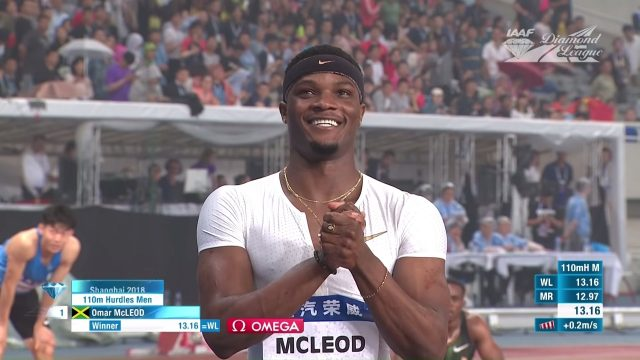 Omar McCleod Wins Men's 110m Hurdles Diamond League Shanghai