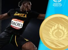 Fredrick Dacres wins the Discus Gold at Athletics World Cup