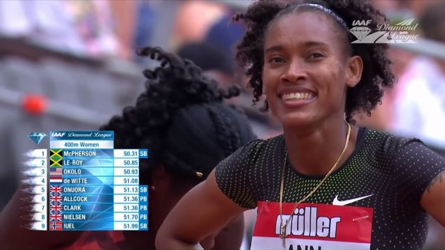 Stephenie McPherson Wins 400m - IAAF Diamond League London 2018