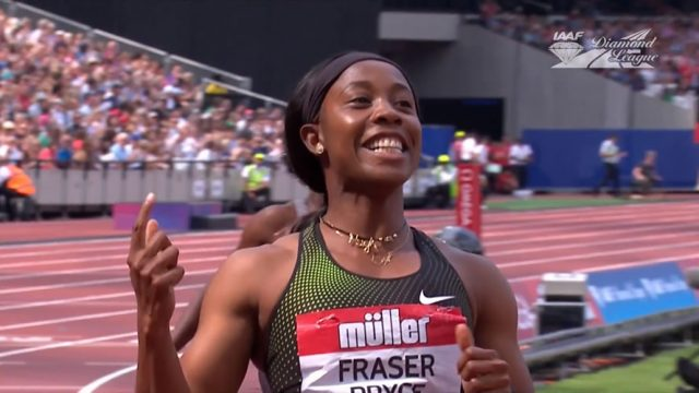 Shelly-Ann Fraser-Pryce wins her first 100m at London Diamond League since giving birth